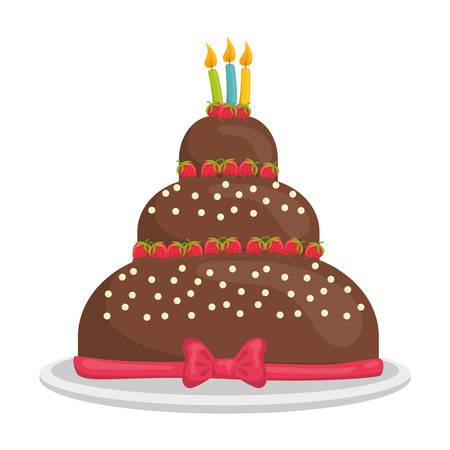 cake design dessert, illustrazione vettoriale Vettoriali