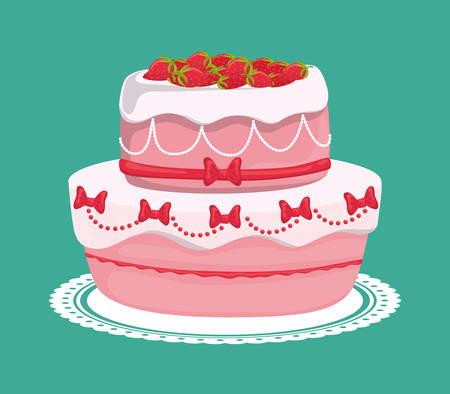 cake design dessert, illustrazione vettoriale
