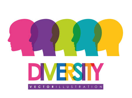 vivid colors: Concept of Diversity people, vivid colors design