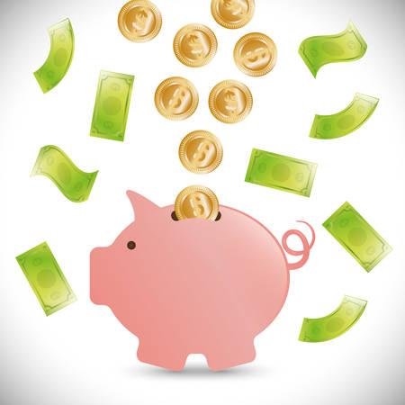 abundance: Money bank design Illustration