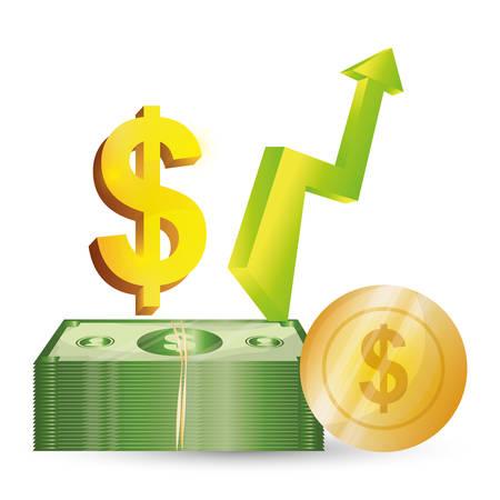 Affari, profitti dei soldi ed economia globale, illustrazione di vettore