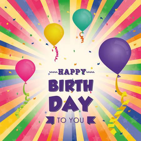 Happy birthday kleurrijke kaart ontwerp, vector afbeelding Vector Illustratie