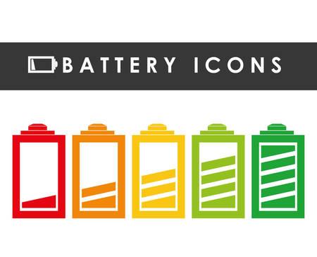 energetics: Battery icons graphic design Illustration