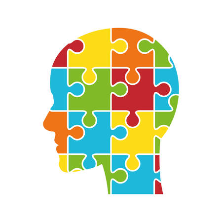 Piece of game concept represented by head and puzzle icon. isolated and flat illustration