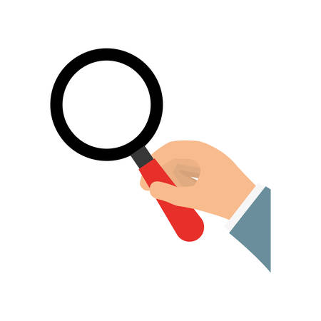 magnifying glass icon: Search and instrument concept represented by magnifying glass icon. isolated and flat illustration