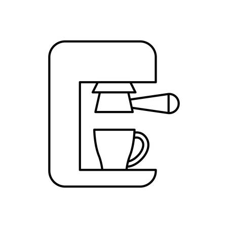 coffee time: Coffee time concept represented by coffee machine icon. isolated and flat illustration
