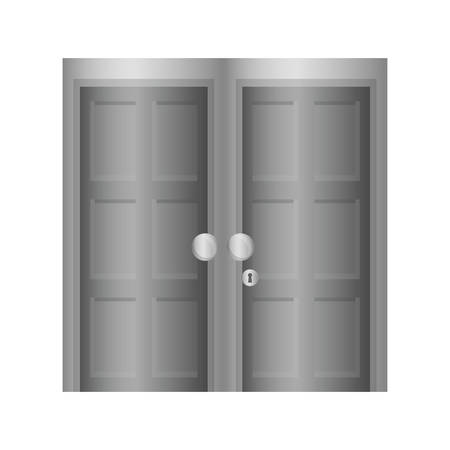 doorknob: Home concept represented by grey door icon. isolated and flat illustration
