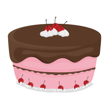 frosting: Dessert and celebration concept represented by sweet cake with cherrys icon. isolated and flat illustration