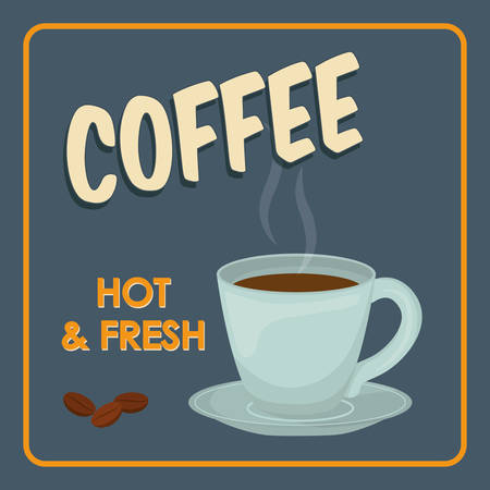 coffee time: Coffee time oncept represented by coffee mug icon. Property of colorfull and frame illustration