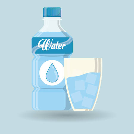 drinking water sign: Water bottle with glass, vector illustration design Illustration
