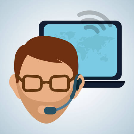 image consultant: call center concept with icon design, vector illustration graphic.