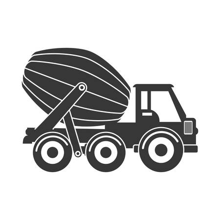 concrete mixer: Under construction concept represented by concrete mixer icon. isolated and flat illustration