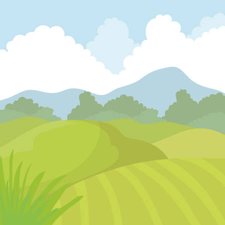 agriculture icon: Landscape concept represented by agriculture icon. isolated and flat illustration