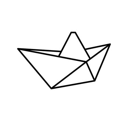 represented: Origami concept represented by boat icon. isolated and flat illustration