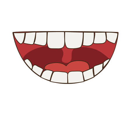 irritation: Mouth concept represented by smile cartoon. isolated and flat illustration