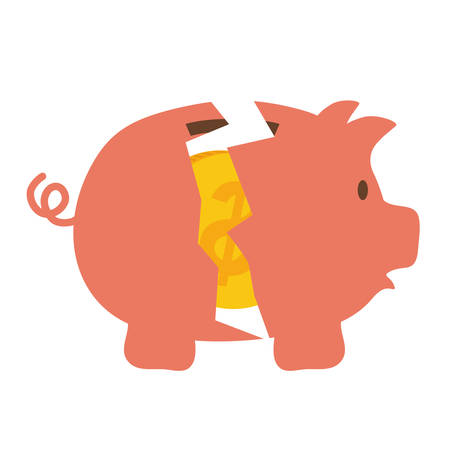 financial item: Money and financial item concept represented by Piggy icon. isolated and flat illustration