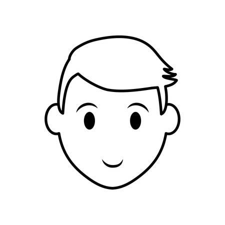 Concepto de persona representada por la silueta del icono de cabeza de hombre. Ilustración aislada y plana