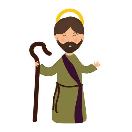 christian festival: Merry Christmas concept represented by joseph cartoon icon. isolated and flat illustration