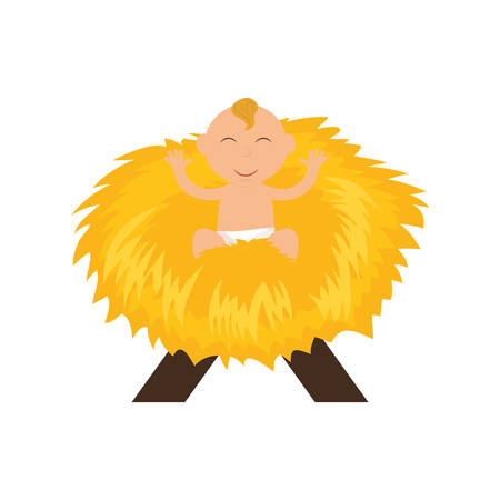 nativety: Merry Christmas concept represented by baby jesus icon. isolated and flat illustration Illustration