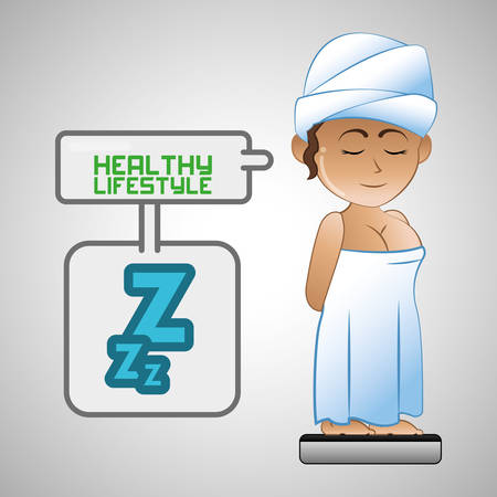 sleepy woman: Healthy lifestyle concept with icon design Illustration