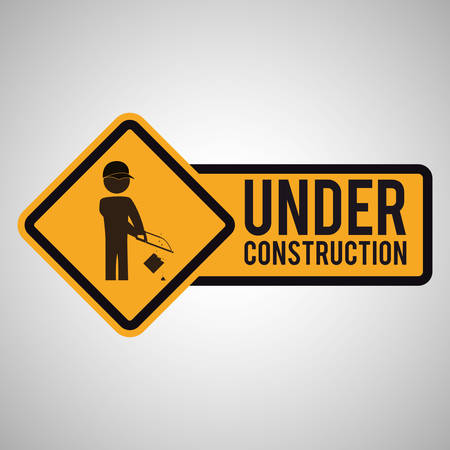 warning saw: Under construction concept with icon design