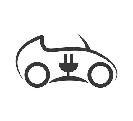 Save energy and eco concept represented by eco car icon. isolated and flat illustration