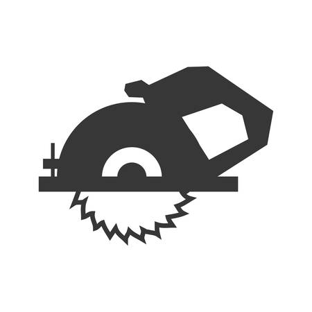 constuction: Constuction and repair concept represented by electric saw tool icon. isolated and flat illustration