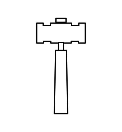 constuction: Constuction and repair concept represented by hammer  tool icon. isolated and flat illustration