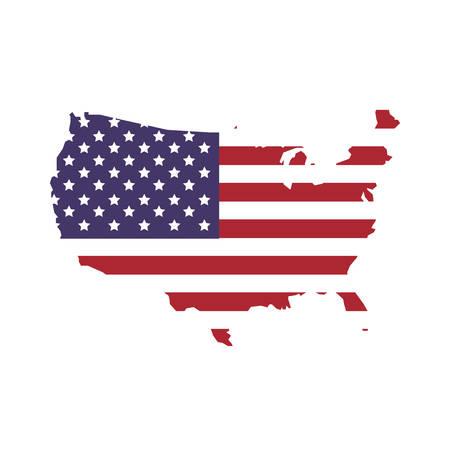 지도 및 플래그 아이콘으로 표시 USA 개념입니다. 격리 및 평면 그림