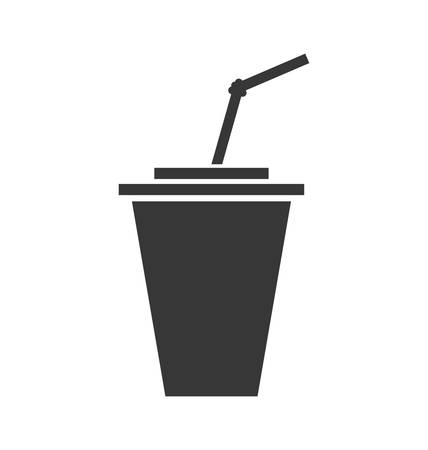 tonic: Soda and drink  concept represented by drinking straw inside glass icon. isolated and flat illustration
