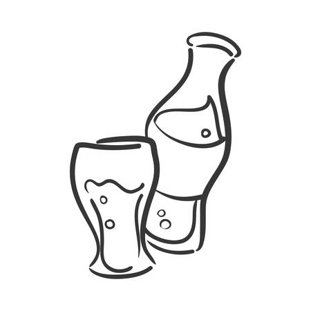 fizz: Soda and drink  concept represented by bottle and glass icon. isolated and flat illustration Illustration