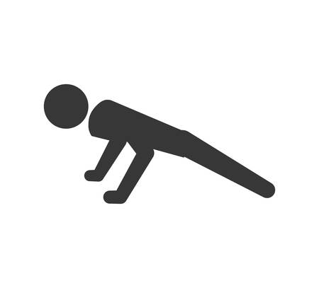 push: Healthy lifestyle concept represented by pictogram doing push up icon. isolated and flat illustration Illustration