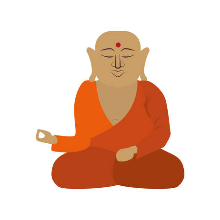 Indian culture concept represented by buddha icon. Isolated and flat illustration