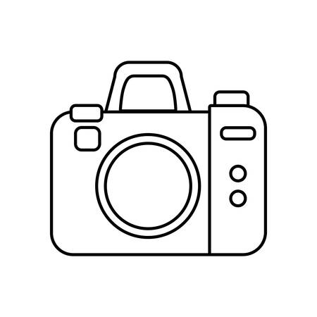 digicam: Gadget concept represented by silhouette of camera icon. Isolated and flat illustration