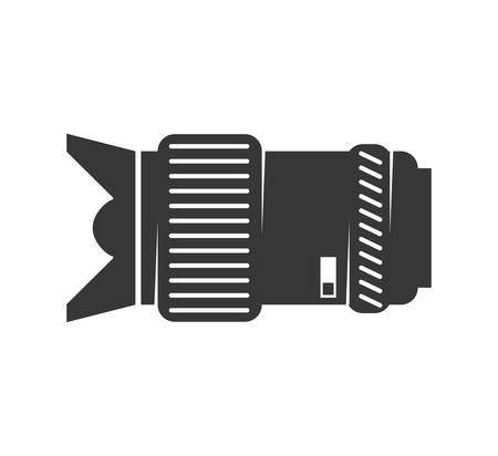 digicam: Gadget concept represented by silhouette of camera lens icon. Isolated and flat illustration