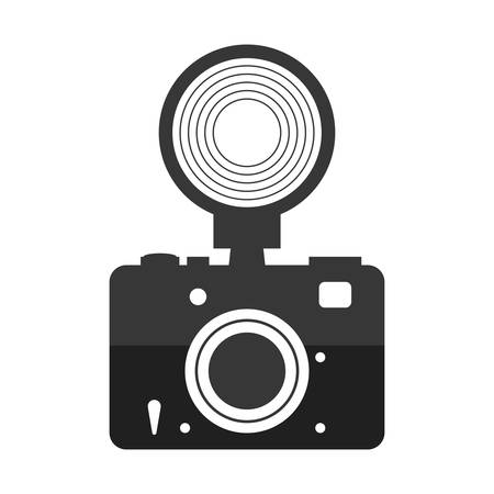 digicam: Gadget concept represented by silhouette of camera with flash icon. Isolated and flat illustration Illustration
