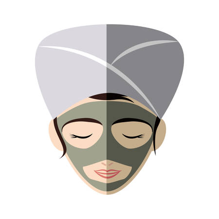 face treatment: Spa center concept represented by woman cartoon with towel and face mask icon. Isolated and flat illustration