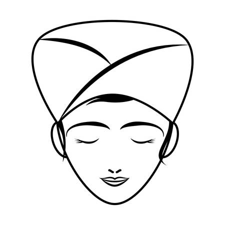 face mask: Spa center concept represented by woman cartoon with towel and face mask icon. Isolated and flat illustration
