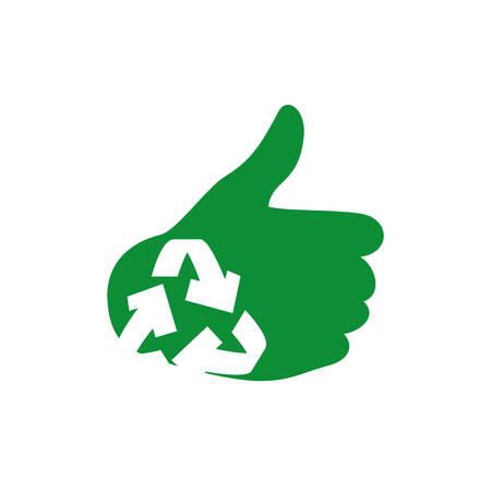 thumbs up icon: Eco and conservation concept represented by thumbs up icon. Isolated and flat illustration Illustration