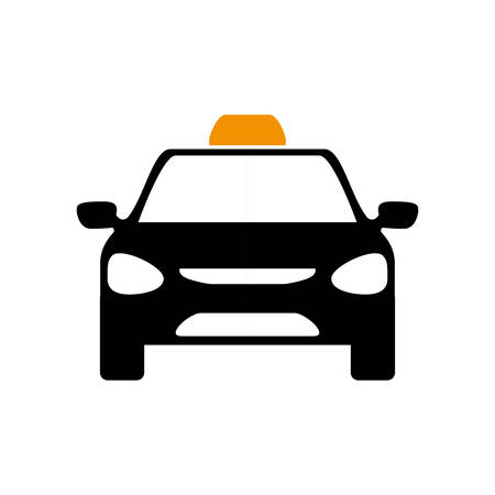 city traffic: Public service concept represented by taxi car icon. Isolated and flat illustration