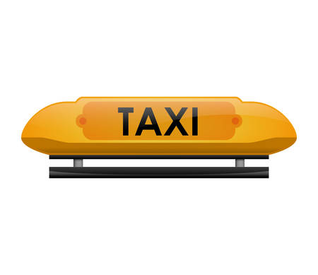 public service: Public service concept represented by taxi text icon. Isolated and flat illustration