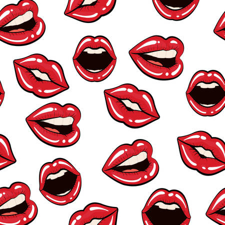 Pop art concept represented by female mouth background. Colorfull illustration. White background