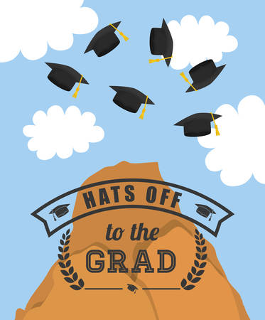 finishing school: University and graduate concept represented by mountain and sky with  graduation cap icon. Colorfull and flat  illustration.
