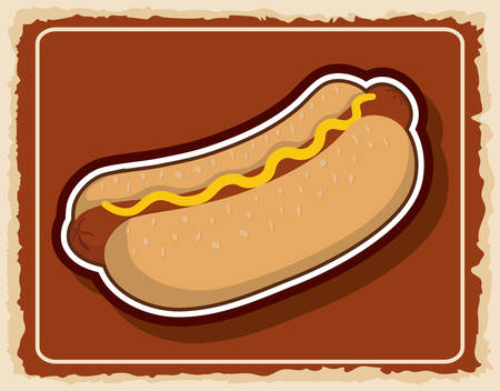 hot frame: Fast food product concept represented by Hot dog icon. Colorfull and frame illustration.