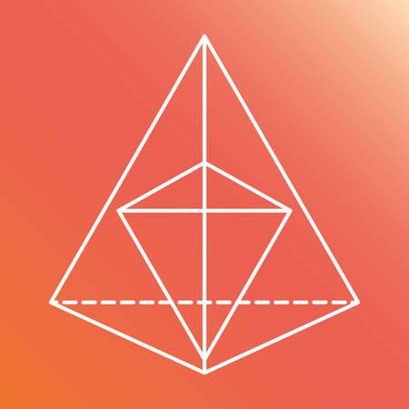 illuminati: White Shape design represented by Sacred geometry icon. Colorfull illustration. Pink and orange background Illustration