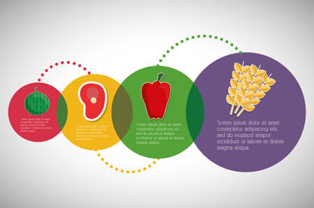 digitally: Nutrition and Organic concept represented by Infographic icon. Colorfull illustration.