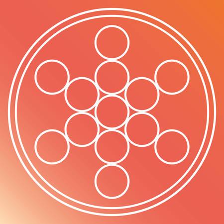 illuminati: White Shape design represented by Sacred geometry icon. Colorfull illustration. Orange background Illustration