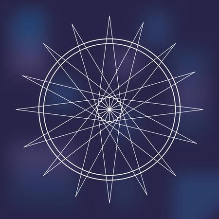 illuminati: White Shape design represented by Sacred geometry icon. Colorfull illustration. Blue background