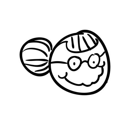old people: old people and cartoon concept represented by grandmother icon. Isolated and sketch illustration