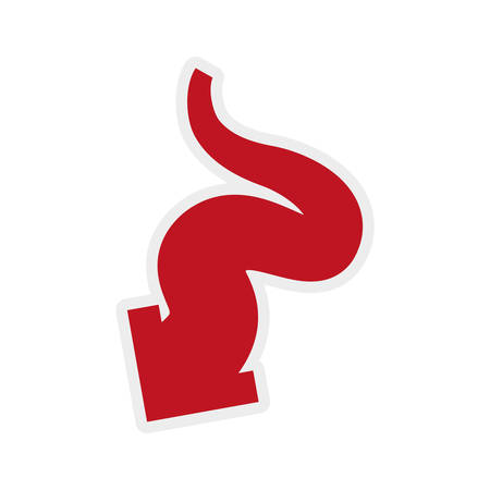 orientation marker: Direction concept represented by red arrow icon. Isolated and flat illustration